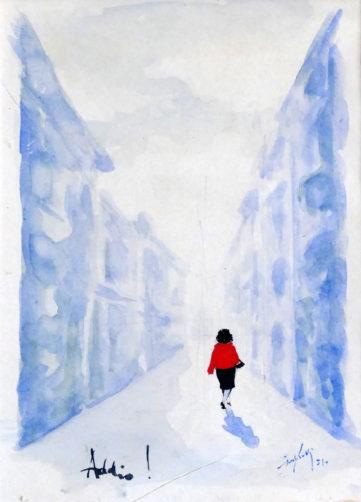 Addio! - Acquerello e tempera su cartoncino, 1951