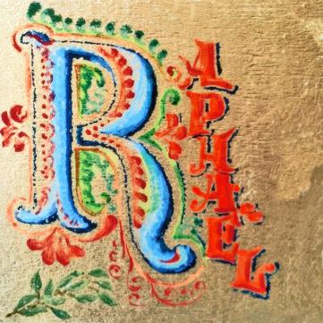 Prova logo Raphaël su foglia oro - Grafica, Loghi, Lettering, 1990