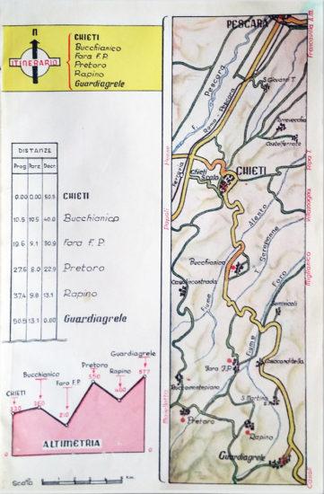 Mappa Itinerario 1 da G. Lalli - Cartografia, Planimetrie, 1954