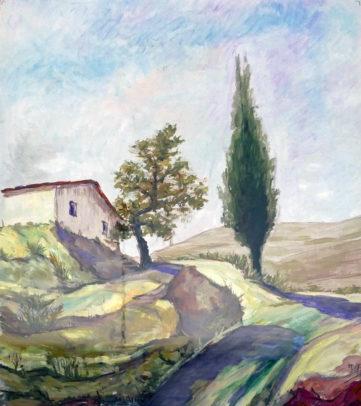 Paesaggio con cipresso e quercia - Tempera su tavola, 1986