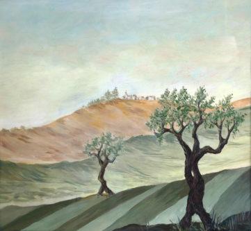 Paesaggio con ulivi - Olio su tavola, 1984