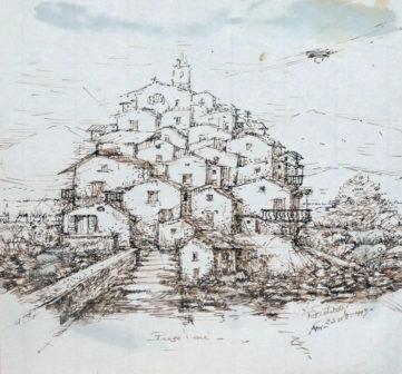 Paese mè - Disegno a china e acquerello, 1993