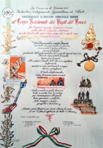 Pergamena per i Vigili del Fuoco (Studio Fraticelli) - Pergamene, Diplomi, Calligrafia, 2009