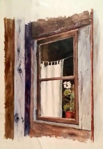 Tendina e ... scurini - Ricordo della casa di via Ognissanti - Tempera su cartoncino, 1999