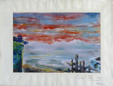 Tramonto sul Gran Sasso con versi dalla lirica Solitudine - Olio su tavola, 1954