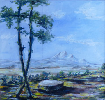 Veduta del Gran Sasso ispirata alla lirica Solitudine - Olio su tavola, 1954